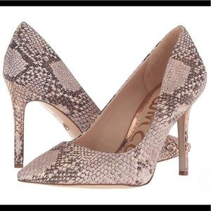 Sam Edelman Hazel Metallic Snake Pumps Rose Gold 6